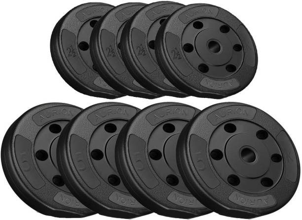 Aurion Vinyl Weight Plates Set for Weight Lifting Dumbbell Bars Strength Training Black Weight Plate