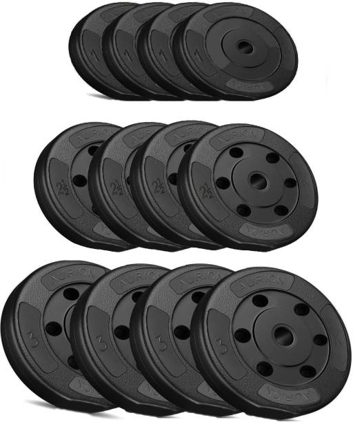 Aurion 26 kg Vinyl Weight Plates Set for Weight Lifting Dumbbell Bars Strength Training Black Weight Plate