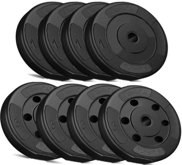 Aurion 16 kg Vinyl Weight Plates Set for Weight Lifting Dumbbell Bars Strength Training Black Weight Plate