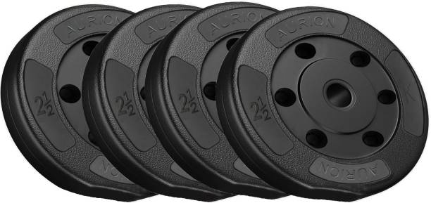Aurion 10 kg Vinyl Weight Plates Set for Weight Lifting Dumbbell Bars Strength Training Black Weight Plate