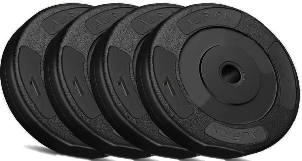 Aurion 4kg Vinyl Weight Plates Set for Weight Lifting Dumbbell Bars Strength Training Black Weight Plate