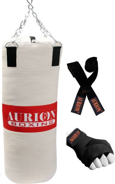 Aurion Unfilled Punch Bag Set 2 Feet Boxing Kit With Hand wrap Boxing Kit