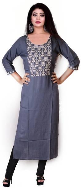 kshmya Women Embroidered Straight Kurta