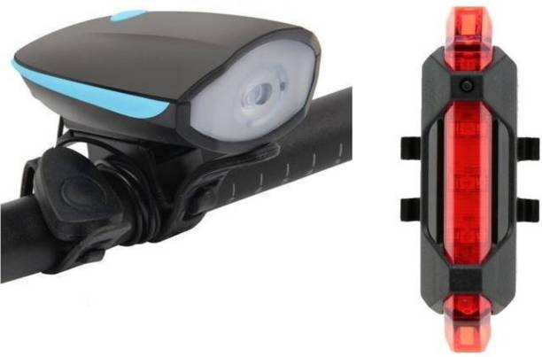Techista USB Rechargeable Cycle Horn with Light with USB Rechargeable Cycle tail light LED Front Rear Light Combo