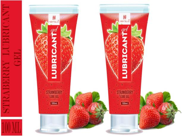 NightBlue Strawberry Lubricant Gel I Water Based I Moisturize Skin For Longer Time I Instant Arousal with Soothing Effects 100Ml Pack Of 2 Lubricant