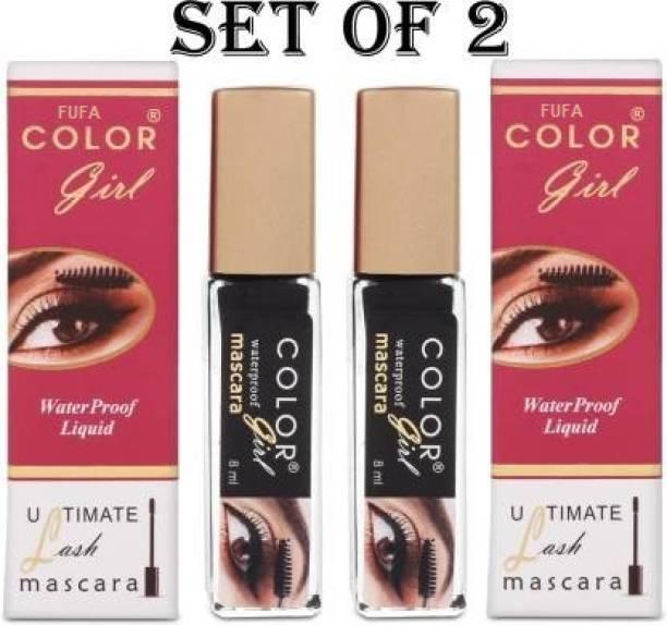FUFA Color Girl Black Waterproof Ultimate Lash Mascara Set Of 2 16 ml (Black) 16 ml