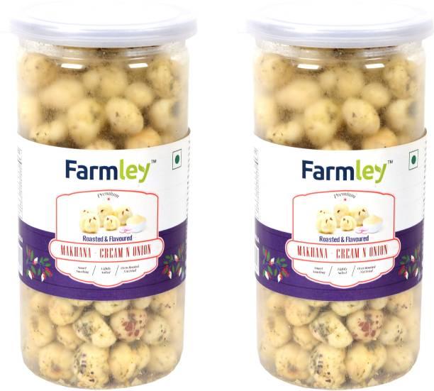 Farmley Roasted & Flavored Makhana - Cream N Onion 180g Pack for 2 (90g Each)