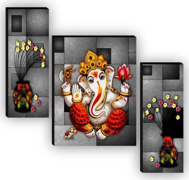 SAF Set of 3 Ganesha UV textured High Quality MDF Self Adeshive Digital Reprint 12 inch x 9 inch Painting