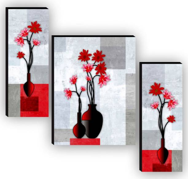 SAF Set of 3 Flower Pot UV textured High Quality MDF Self Adeshive Digital Reprint 12 inch x 18 inch Painting