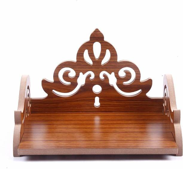 STASTORE Wooden Singhasan Temple for God, Laddu Gopal Sinhasan for Pooja Mandir, Singhasan for Diwali, Durga Pooja, Navratri, Ganesh Chaturthi - Multicolor (5.5 * 6 * 8 Inch) (Red) Engineered Wood Home Temple
