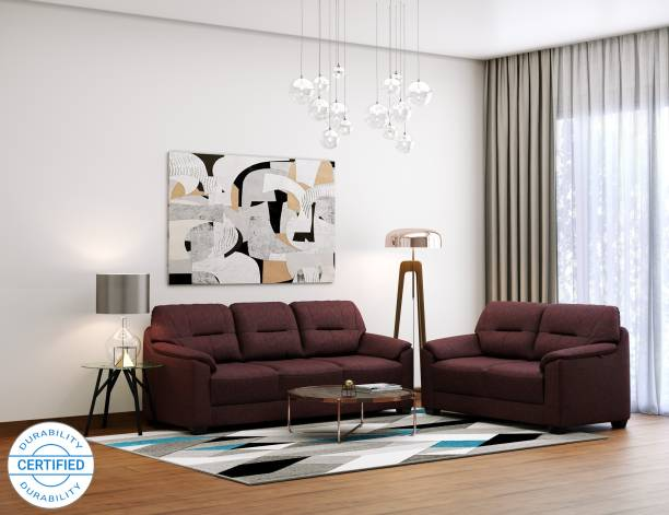 MUEBLES CASA Croma Leatherette 3 + 2 Cherry Sofa Set