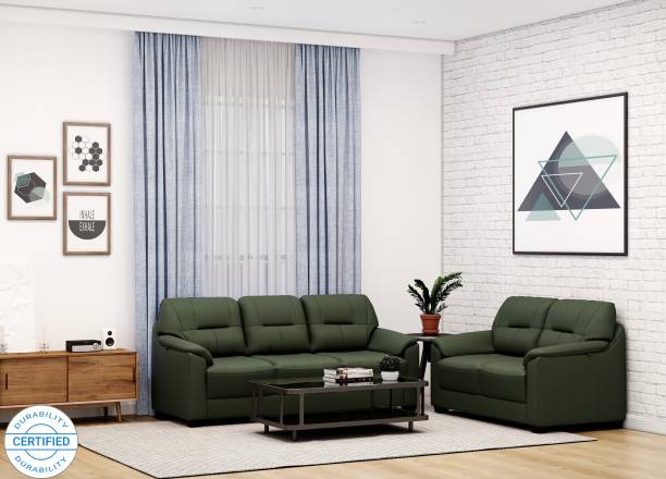 MUEBLES CASA Croma Leatherette 3 + 2 Green Sofa Set