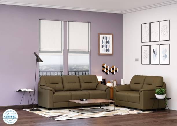 MUEBLES CASA Croma Leatherette 3 + 2 Tan Brown Sofa Set