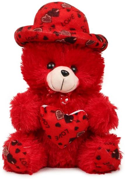 Toodles Stuffs Loving/Hug-Able/Big and Fluffly RED Cap with Heart Teddy Bear for Your Loving One  - 30 cm