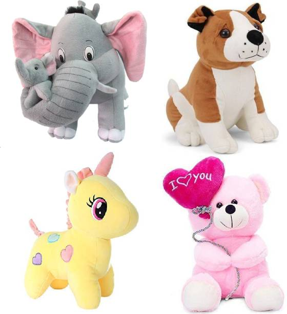 eston Pack Of 4 Elegant Soft Toys Combo Set Bull Dog , Pink Balloon , Yellow Unicorn , Grey Mother Elephant Special Offers Toy Animals For You - 42 cm (Multicolor) - 42 cm (Multicolor)  - 42 cm