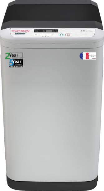 Thomson 7.5 kg 5 Star, Germ Purifier Technology Fully Automatic Top Load Grey, Silver
