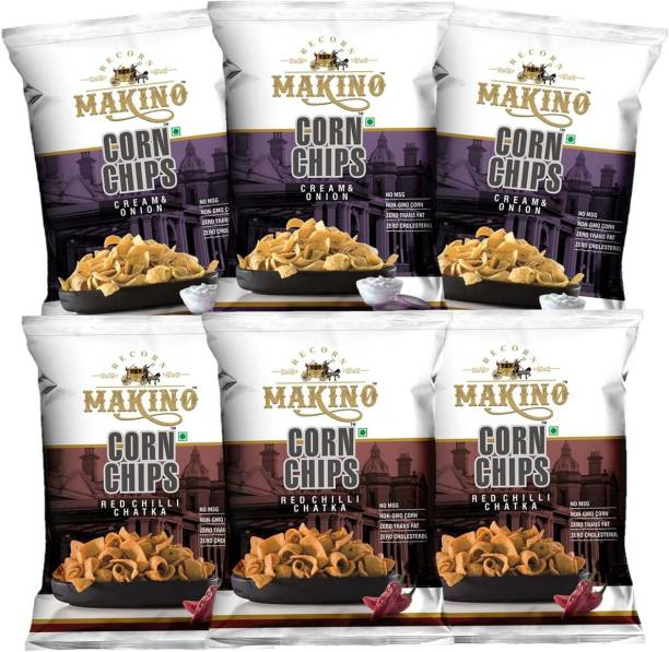 MAKINO Corn Chips(Cream & Onion, Red Chilli Chatka) Chips