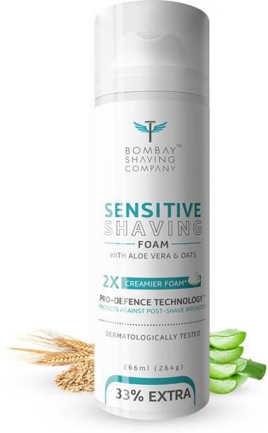 BOMBAY SHAVING COMPANY Sensitive Shaving Foam, 226 ml (33% Extra) with Aloe Vera & Oats