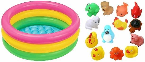 vworld Amazing 2 Feet Baby Bath Tub and Squeeze 12 PCs Chu Chu Sound Animal Bath Toys for Kids(Multicolor) (2FEET12PCCHUCHU) Bath Toy