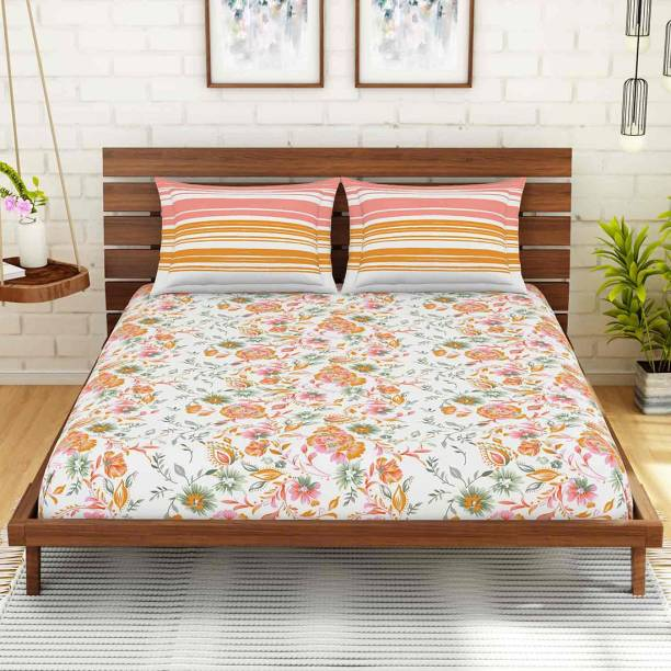 SPACES 144 TC Cotton Double King Floral Bedsheet