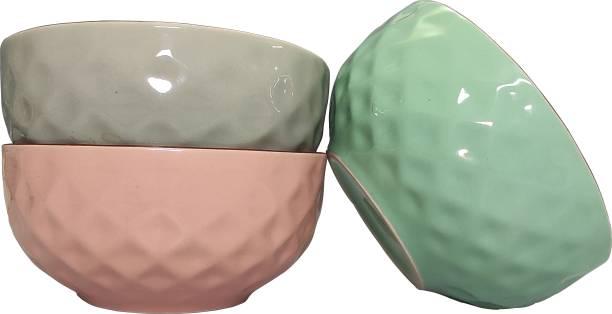 SEPARATE WAY Ceramic Soup Bowl 5.3 Inch Diameter 350Ml Capacity Diamond Pattern Ceramic Soup Bowl