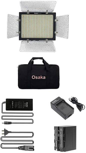 Osaka Os Bi-Color Dimmable LED Video Light OS 528 Slim for Nikon Canon Sony Panasonic DSLR and Video Cameras and YouTube Video Shooting with F750 Battery 8000 mAh and Power AC Adapter... 2650 lx Camera LED Light