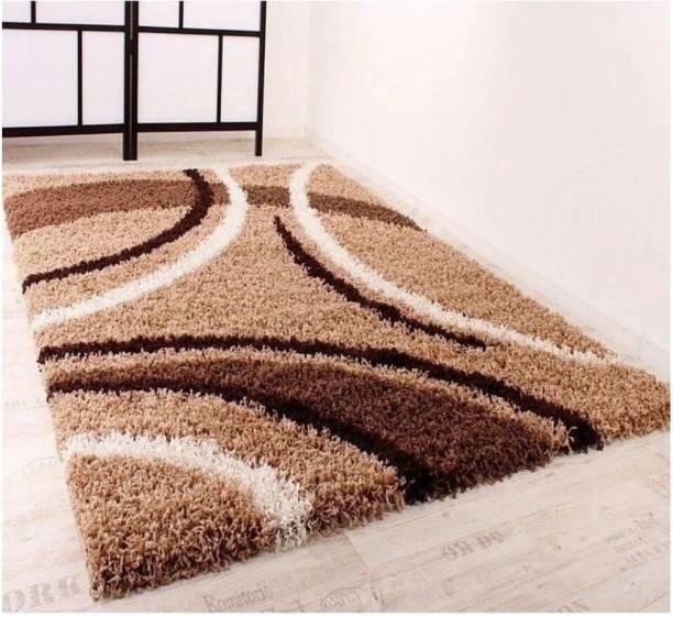 RM Handloom Beige Polyester Carpet
