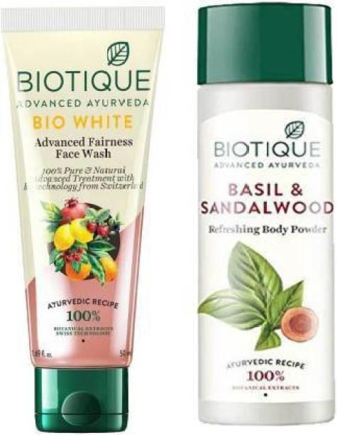 BIOTIQUE Skin Brightening Kit - Bio White Face Wash 100mL*2 & Bio Basil and Sandalwood Refreshing Body Powder 150ml
