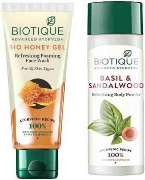 BIOTIQUE EverGreen Skin Care Pack - Bio Honey Gel Face Wash100ml*2, Bio Basil and Sandalwood Refreshing Body Powder150ml