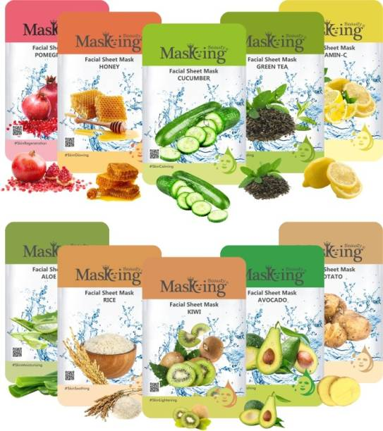MasKing Beauty Facial sheet Mask for Skin Lightening, Glowing, Nourishing and Brightening for women and men Combo Pack of 10