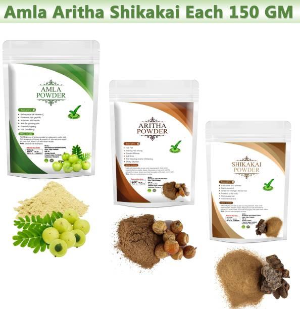 Ayurgenharbal 100% Pure Amla / Reetha / Shikakai Powder Combo Pack of 3