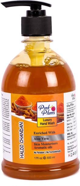 PINK PLUMS Germ Protection Haldi Chandan Liquid Handwash Enriched with Aloe Vera Skin Moisturisers Aromatic Oils, 500ml Pump Hand Wash Pump Dispenser