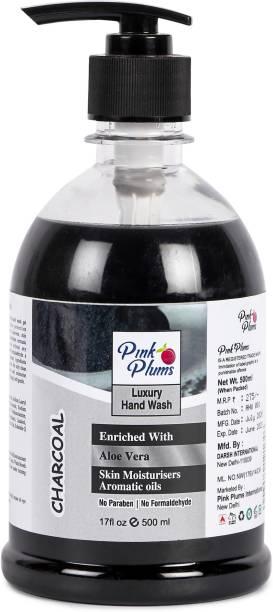 PINK PLUMS Germ Protection Charcoal Liquid Handwash Enriched with Aloe Vera Skin Moisturisers Aromatic Oils, 500ml Pump Hand Wash Pump Dispenser