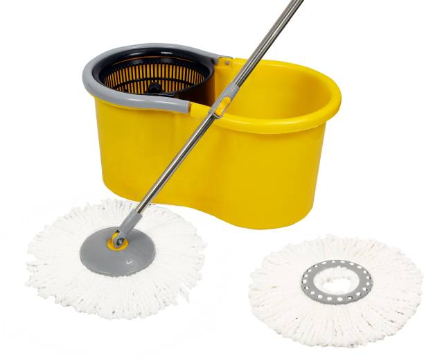 Esquire Elegant Yellow 360° Spin Mop Set and Additional Refill Mop