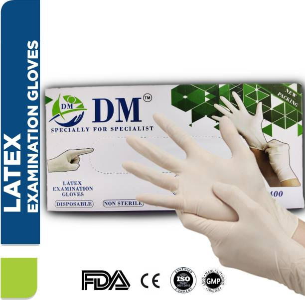 DM Eco : LATEX GLOVES NON-STERILE POWDERED (1 Box= 50 Pcs) Latex Examination Gloves
