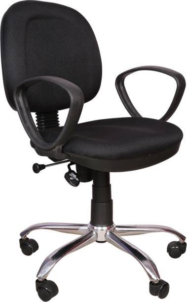 Rajpura 803 Cushioned Low Back Revolving Chair with push back mechanism in Black Fabric Office Executive Chair