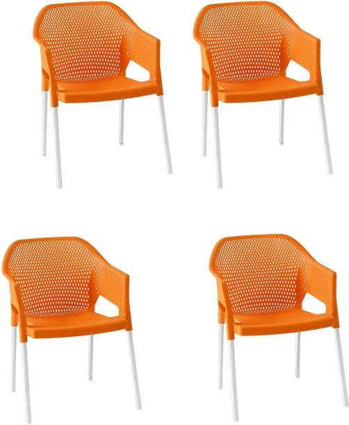 ITALICA ( SHREE GANESH ONLINE ) original seller 2019 Stackable Plastic Armchair (Brown, Set of 4) Plastic Outdoor Chair