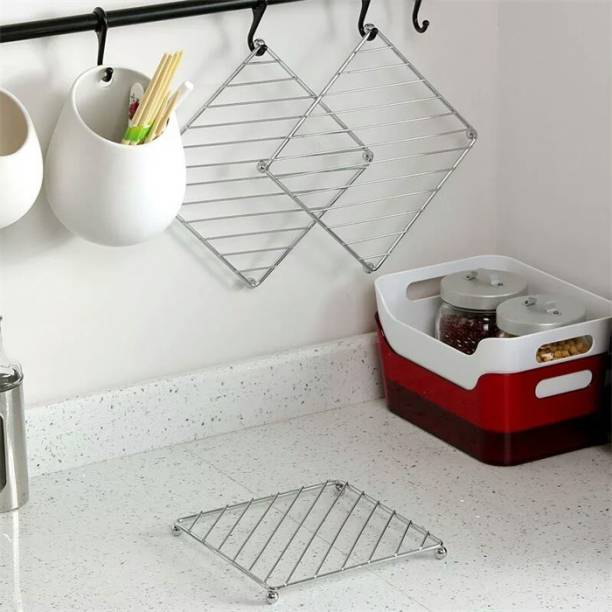 Puno Stainless Steel Kitchen Hot Mat/Hot Utensil Stand/Hot mats for dining table/Hot Pot Stand/hot mat for kitchen(2 Piece) Mirror Finish Trivet
