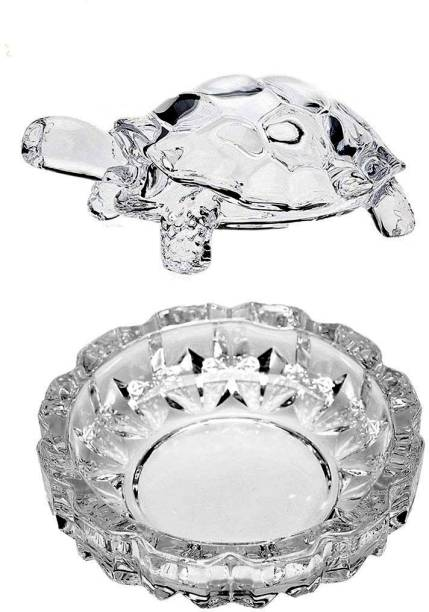 Aakriti Crystal Glass Turtle Tortoise with Pond Pot for Good Luck & Wealth Creation for Feng Shui and Vastu Best Gift Decorative Showpiece  -  3.7 cm