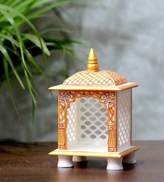 Craft Junction Hand Painted Elegant Carving Design Temple For Office and Table Stone Home Temple