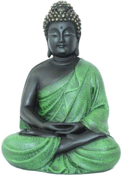 PH Artistic Buddhism God Meditative Buddha Idol Statue Poly Resin Home decorative (Green) Decorative Showpiece  -  13 cm