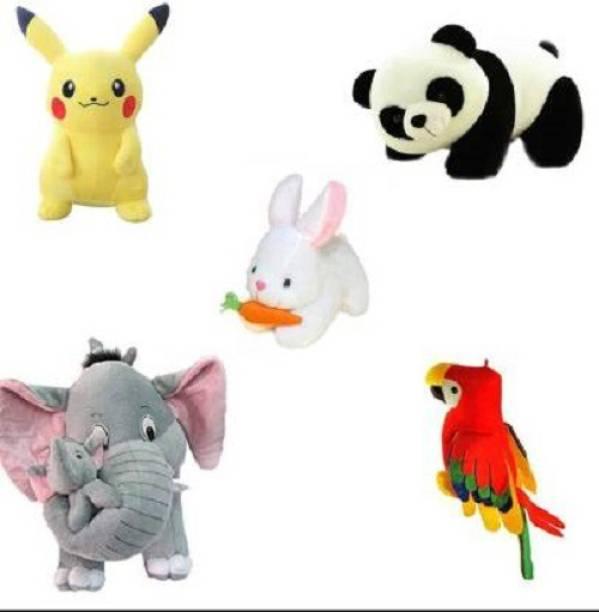 Saubhagye stuffed Combo 5 pics animale Soft Toys Set Elephant 40cm with 2 Baby , Rabbit 30cm , Panda 30cm , Pikachu 30cm , Parrot 35 cm for Kids Playing Soft Toys - 40 cm (Yellow, Grey, White, Black, Red)  - 40 cm