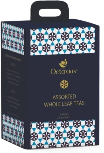 Octavius Assorted 5 Black Loose Leaf Tea Samplers Assorted Green Tea Box