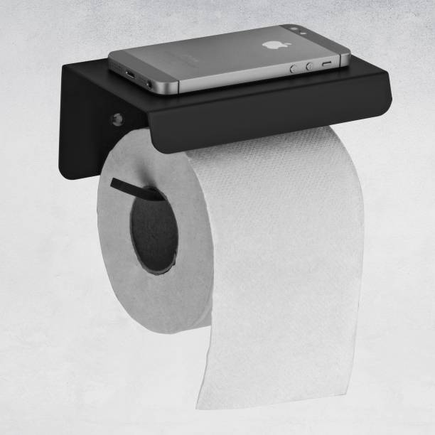 Plantex Platinum Stainless Steel 304 Grade Toilet Paper Holder with Mobile Phone Stand - Bathroom Accessories (Matt Black) Stainless Steel Toilet Paper Holder