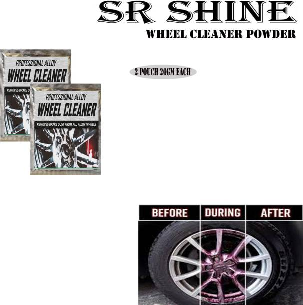 S R SHINE SR Alloy Wheel Cleaner renews shine and sparkle metals by removing surface rust, stains, oxidation, water spots, Car Care/Car Accessories/Automotive Product pack of 2 pouch (20gm) each 40 g Wheel Tire Cleaner