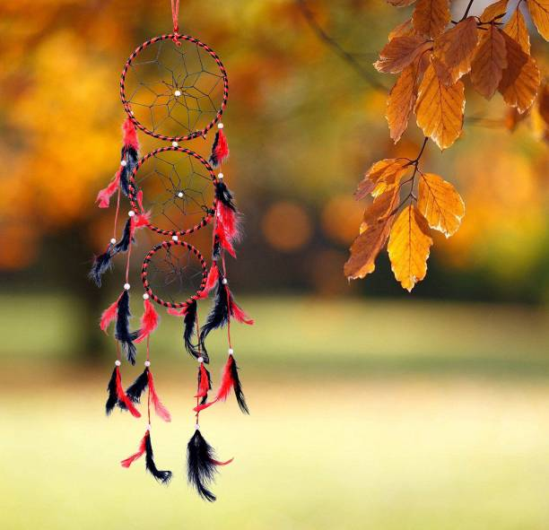 Ryme Red And Black 3 Rings Dream Catcher Wall Hanging For Car And Room Wool Dream Catcher