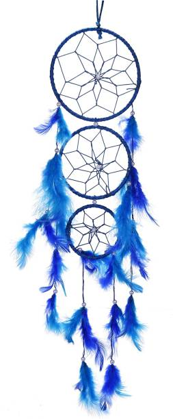 Ryme 3 Rings Blue Dream Catcher for Wall And Room Hanging Wool Dream Catcher