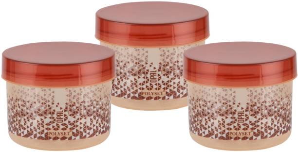 POLYSET Polyset Opal - 725 ml Plastic Grocery Container (Brown) Set of 3  - 725 ml Plastic Utility Container
