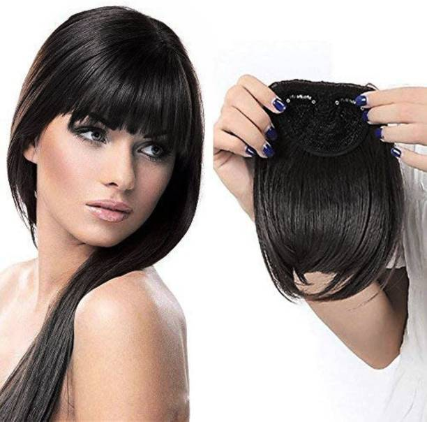 New Jaipur Handicraft Hukum Mere Aaka  Bangs / Clips Synthetic  Fringe Front Bang for Girls and Women, Synthetic  Extension for Girls / Black  Extension / Bangs ( Pack Of 1 (Black) Hair Extension
