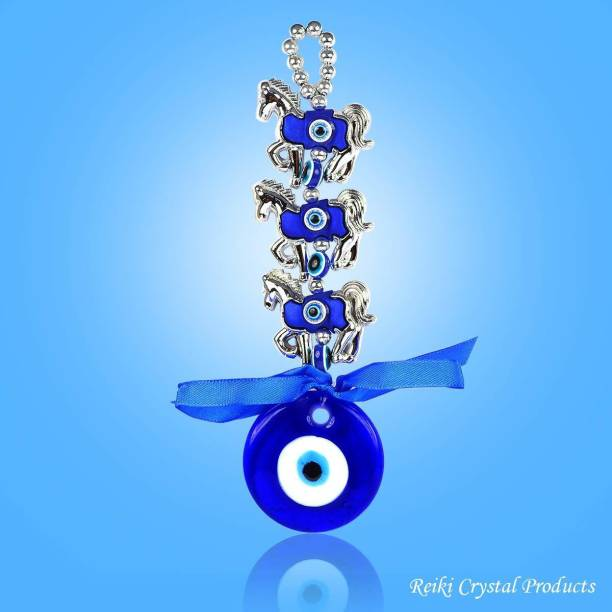REIKI CRYSTAL PRODUCTS Feng Shui Evil Eye Horse Shoe with Two Elephant Car & Door/Office Hanging for Good Luck and Prosperity Decorative Showpiece  -  24 cm